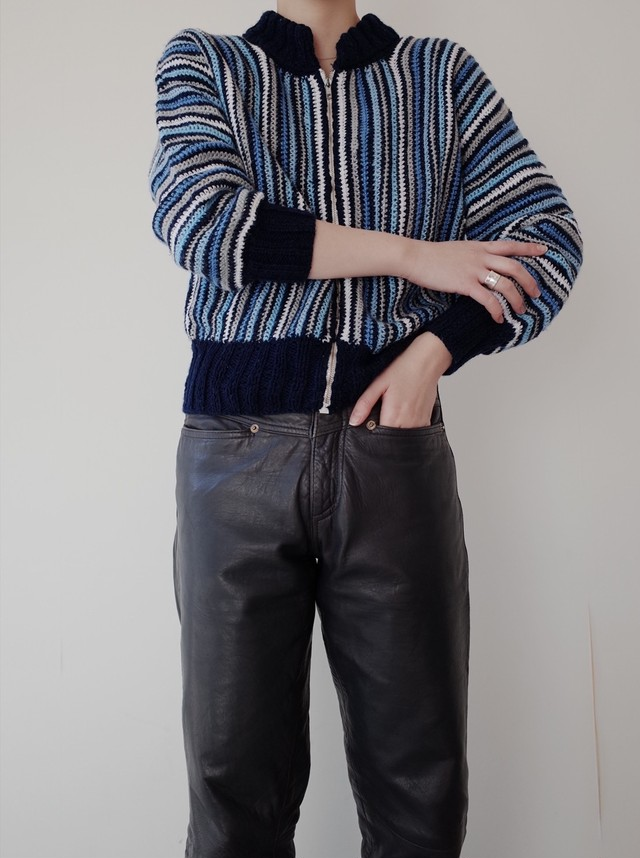 used zip-up knit blouson
