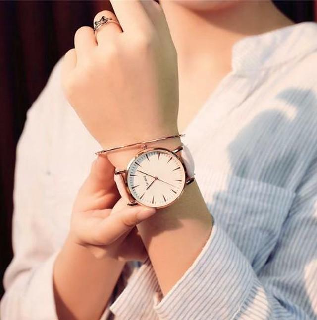 春色 レディース 腕時計 ピンクホワイト 高級 ファッションクォーツ シンプル レロジオ CDiscount-13-pinkwhite
