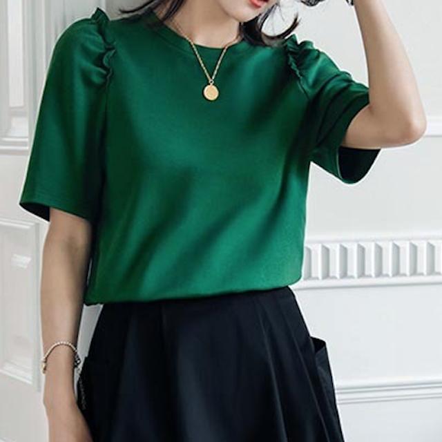 ショルダーフリルTシャツ*4color 100557