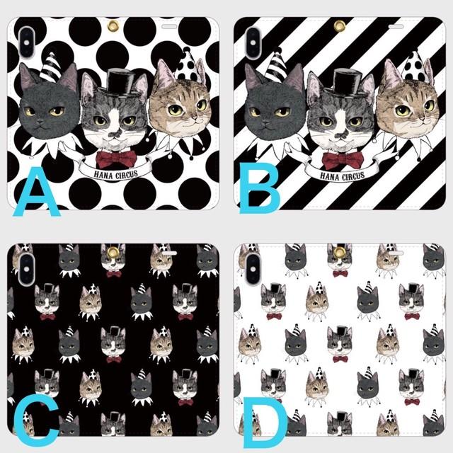 【送料無料】HANA circus original iPhone5〜XS  ベルトなし(帯なし) 手帳型 スマホケース 猫 はちわれ キジトラ 黒猫【受注生産:納期7‐10日】