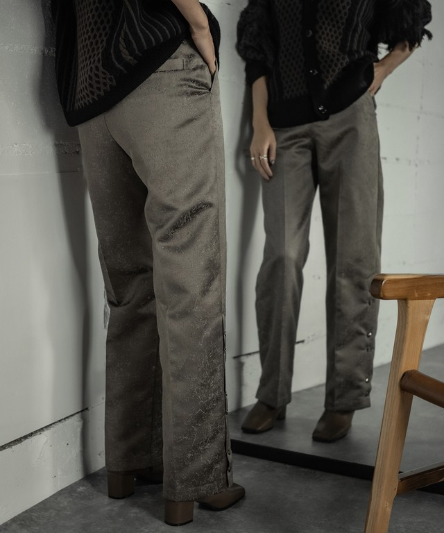 SIDE OPEN JACQUARD PANTS(GRAY)