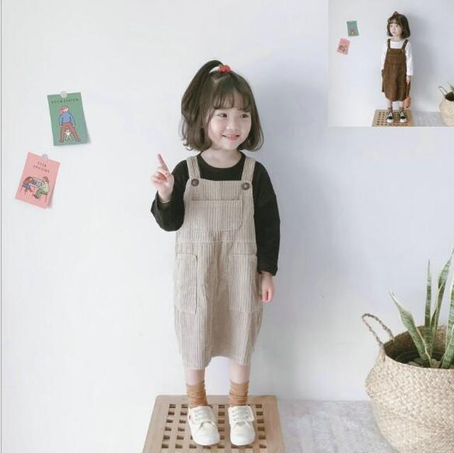 004 子供服 キッズ服 ニット 女の子 水玉 ドット 2点セット  tシャツ+ベストワンピース