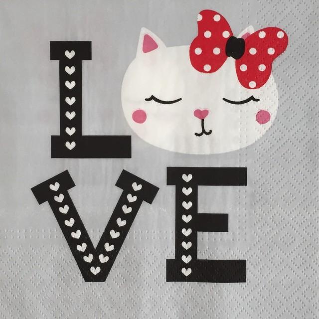 【TETE a TETE】バラ売り2枚 ランチサイズ ペーパーナプキン LOVELY CAT グレー