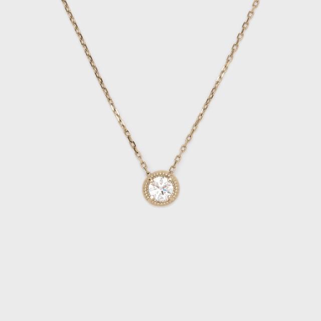 ENUOVE frutta Diamond Necklace K18YG(イノーヴェ フルッタ 0.3ct K18イエローゴールド ミルグレイン ダイヤモンドネックレス スライドアジャスターチェーン)