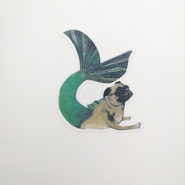 【PergamoPaperGoods】  Mermaid pug sticker