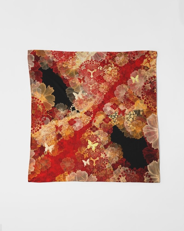 和柄家紋と華Black Pink 風呂敷スカーフ