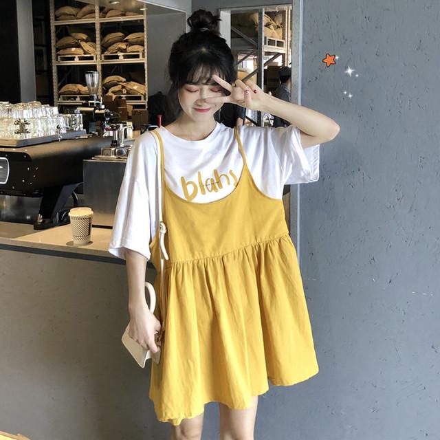 【dress】スウィート半袖着痩せ切り替え学園風ダメージ加工カジュアルワンピース