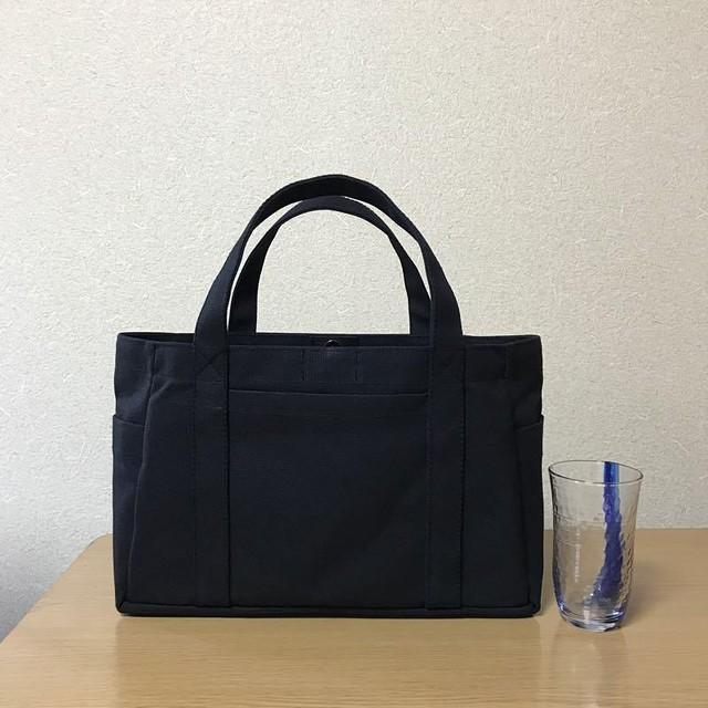 (受注生産)「ポケットトート」横長サイズ「ブラック」倉敷帆布8号