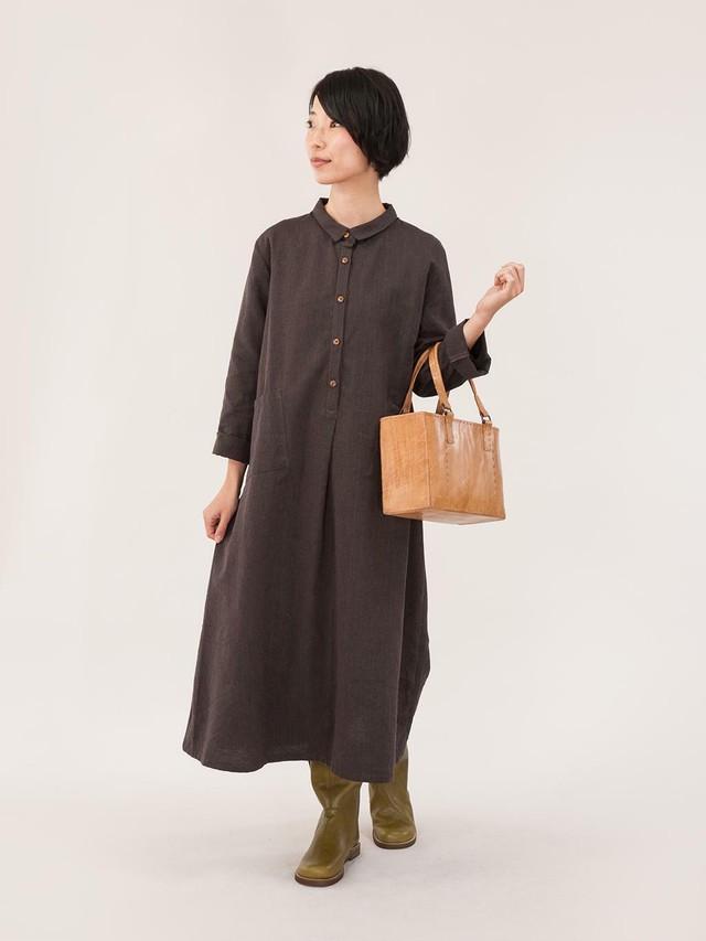 【FAIR TRADE】フロント フライシャツワンピース (brown) (beige)