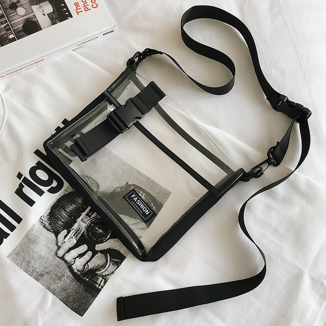 【送料無料】 即夏スタイルに♡ メンズライク カジュアル クリア ショルダーバッグ カバン 透明 PVC