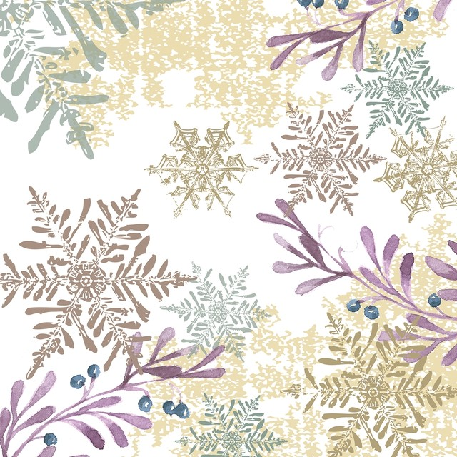 【Paperproducts Design】バラ売り2枚 ランチサイズ ペーパーナプキン SNOWFLAKES AND LEAVES ホワイト