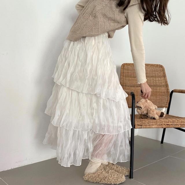 【韓国レディースファッション】 6332 シンプル きれいめ フリル ロング スカート 送料無料