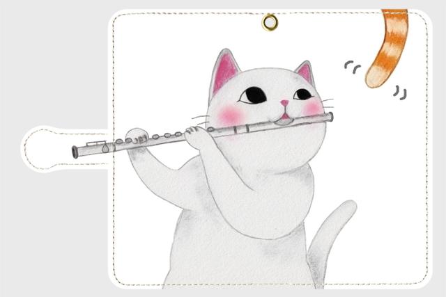 (Android用)フルート猫の手帳型スマホケース(尻尾)