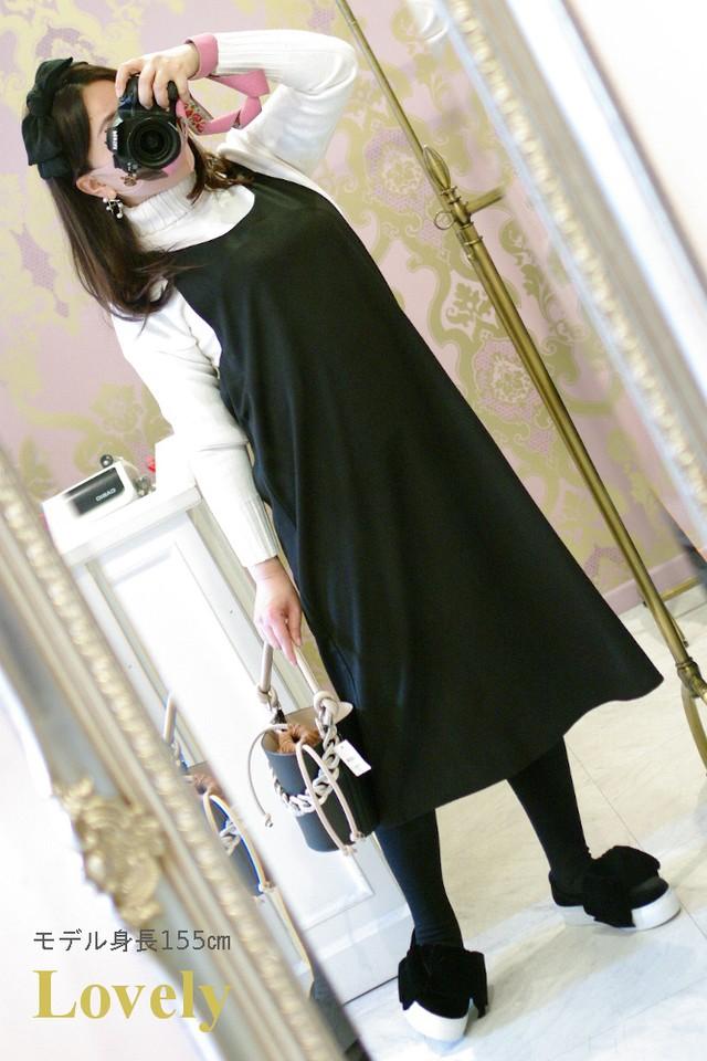 【ワンピース】バック ダブルおリボン ワンピース・ブラック