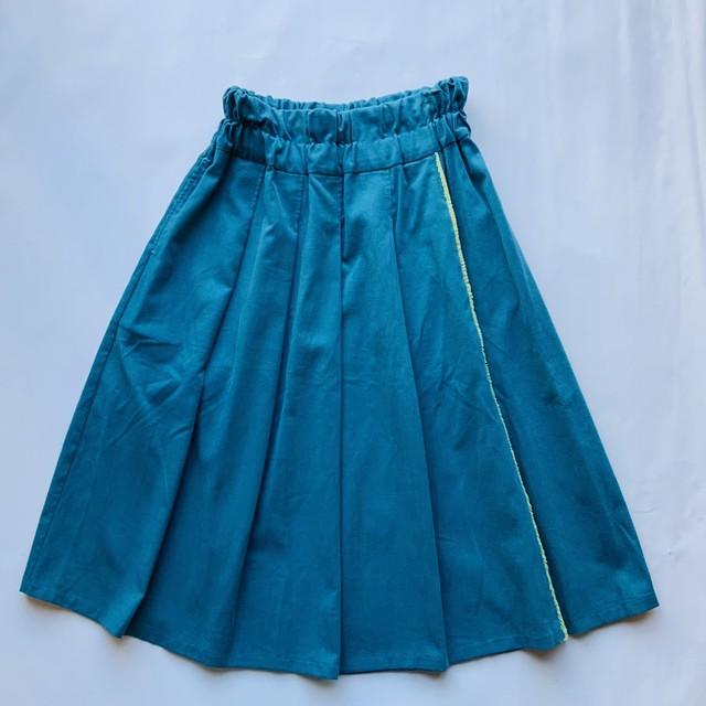 【フリンジタックスカート】ターコイズ/original textile
