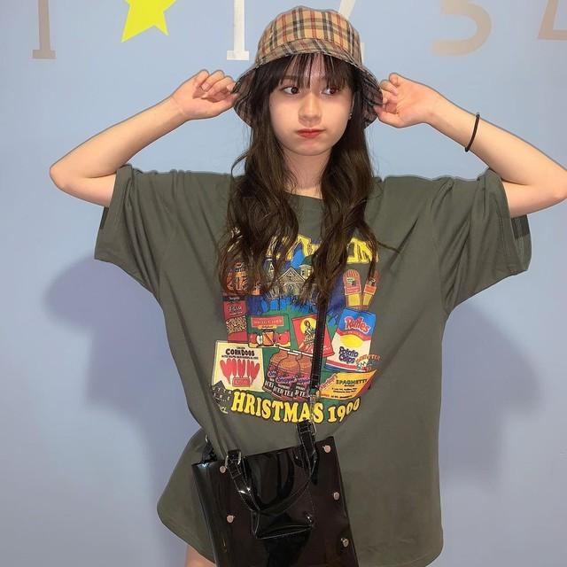 《即納》【坂本瑞帆さん着用】アメコミ風・ポップイラストプリントTシャツ