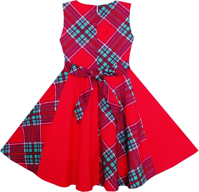 《school collection》Red Checkered Contrast Dress (送料無料)