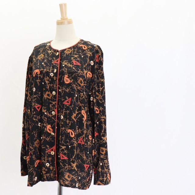 Vintage  80's USA【A.K.F】Rayon Print Shirt Jacket アメリカ ヴィンテージ 総柄 長袖シャツ レーヨン ノーカラー ジャケット