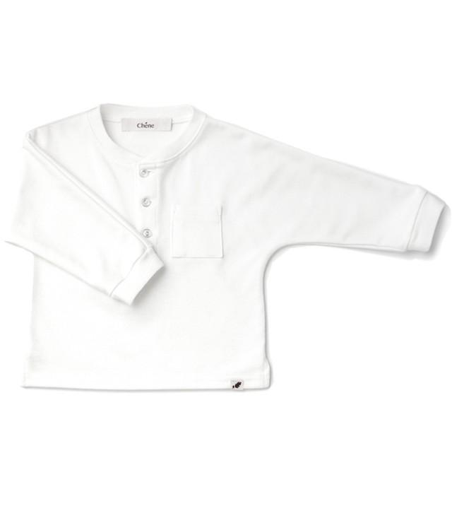 生地が薄くなった☆ヘンリーネックTEE/ ホワイト / 70~100サイズ