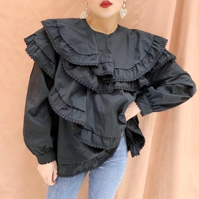 【アパレル・トップス】トリム付き フリル重ね シャツ・ブラック