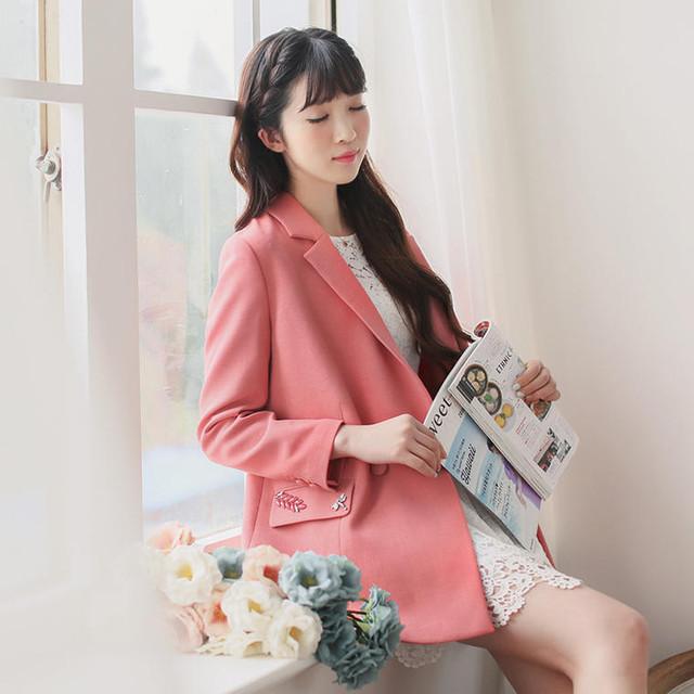 ジャケット ピンク 可愛い 清楚 ミディアム丈 カジュアル 春 韓国 1506