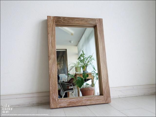 総無垢 オールドチークフレームミラー角60cmWW 鏡 レトロ 天然木 ハンドメイド 天然木 ナチュラル 古材 シンプル 手づくり 『送料無料』