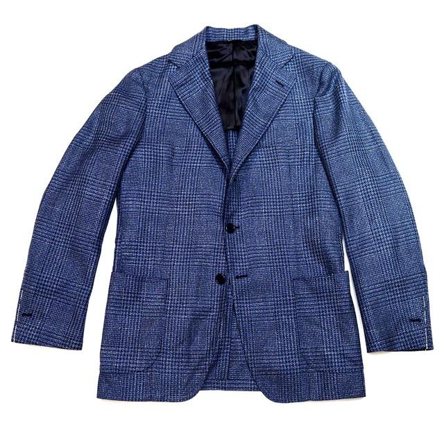 Luigi Grimaldi Napoli ドラッパーズ生地 ジャケット 46 - Glen Plaid Blue