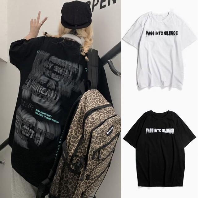 ユニセックス Tシャツ 半袖 ファントムレタープリント ラウンドネック オーバーサイズ トップス 大きめ カジュアル ストリートファッション / Phantom Letter Pure Cotton T-shirt (DTC-640595956534)