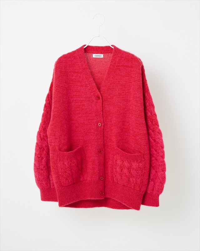 【COOHEM  WOMEN】MOHAIR CABLE KNIT CARDIGAN:レッド
