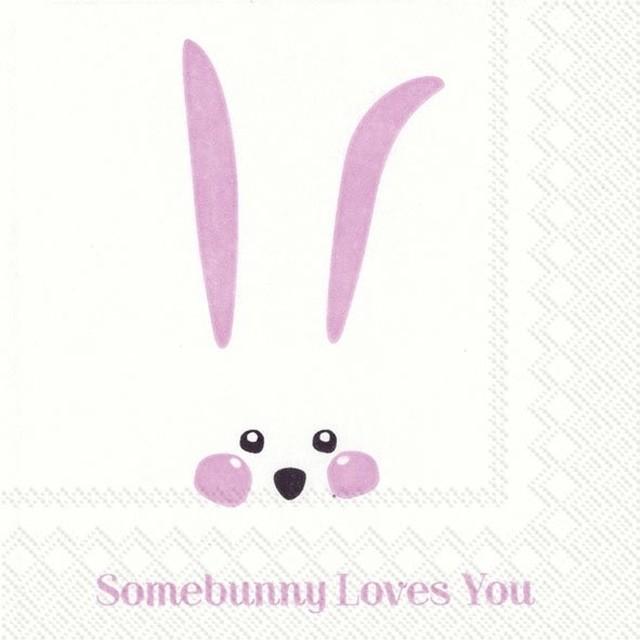 【IHR】バラ売り2枚 カクテルサイズ ペーパーナプキン SOMEBUNNY LOVES YOU ホワイト