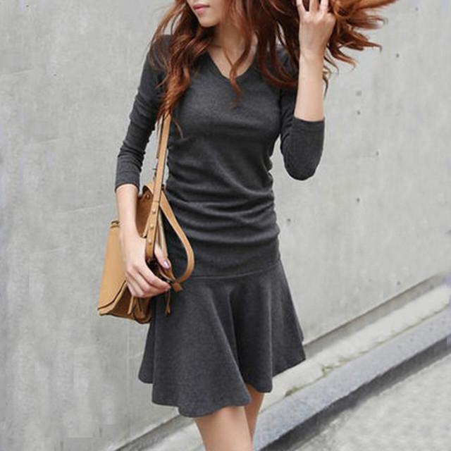 【dress】デートワンピースVネックAラインハイウエストファッション