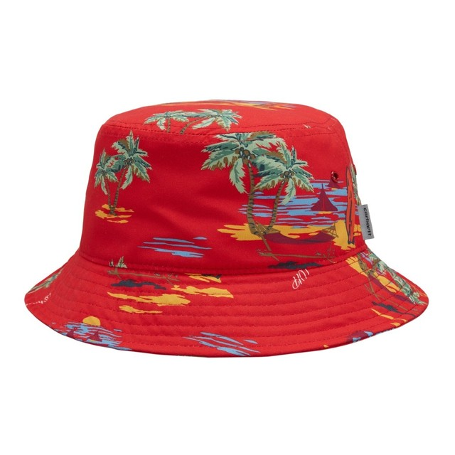 CARHARTT WIP BEACH BUCKET HAT - Beach Print Etna Red