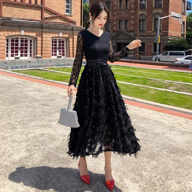 レースロングドレス 2色 S~2XL 大きいサイズ ドレス ロング丈 レース 透け感 エレガント 結婚式 二次会 パーティー