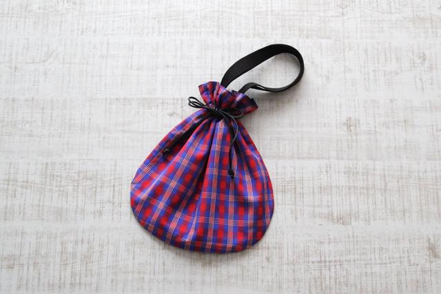 マサイチェックの巾着バッグ|マサイ布 / アフリカ布 / インナーバック
