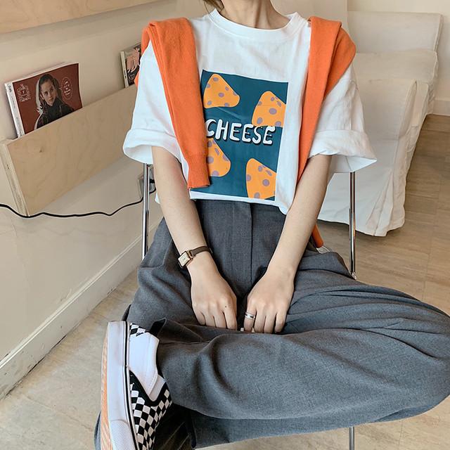 取り寄せ商品:チーズイラストTシャツ