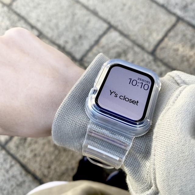 Apple Watch クリア フレームケース一体型 バンド ベルト aw103