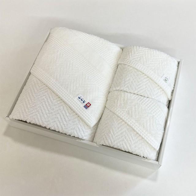 <LifE>バスタオル2枚 & フェイスタオル2枚セット(すべてオフホワイト)