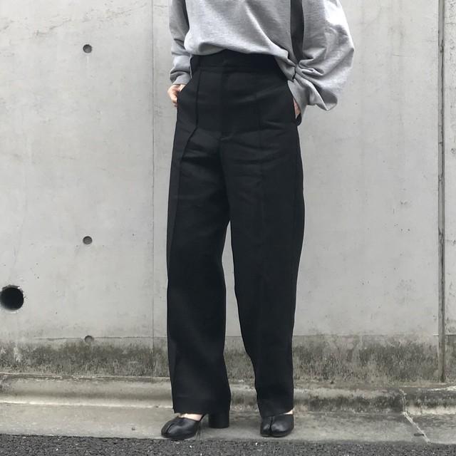 Liyoca ハイウエストリネンパンツ BLK【20SS】