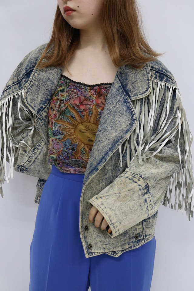 denim  fringe jacket / 4SSOU30-19