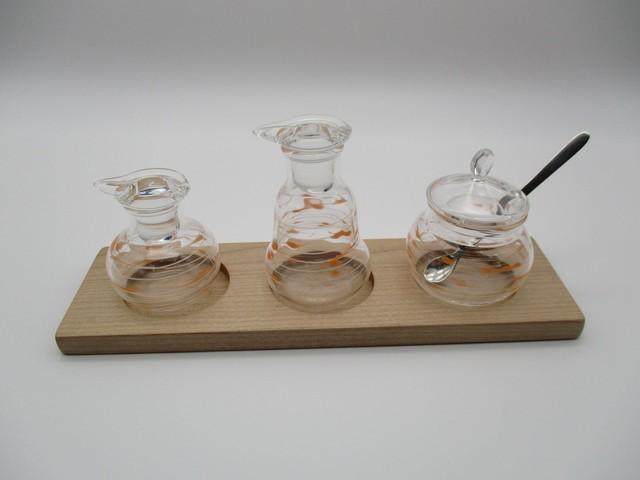 調味料入れ3点セット(丸・ベル・丸・台付)白×オレンジ