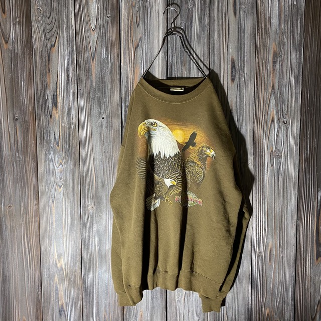 [used]eagle print khaki sweat