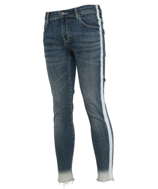 LINE PAINT STRETCH SKINNY DENIM PANTS[REP109]