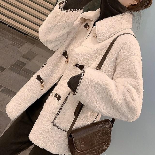 レディース 冬 コート  クリスマス ホワイト モコモコ もこもこ 可愛い 韓国 ポケット デート お出かけ 女子会
