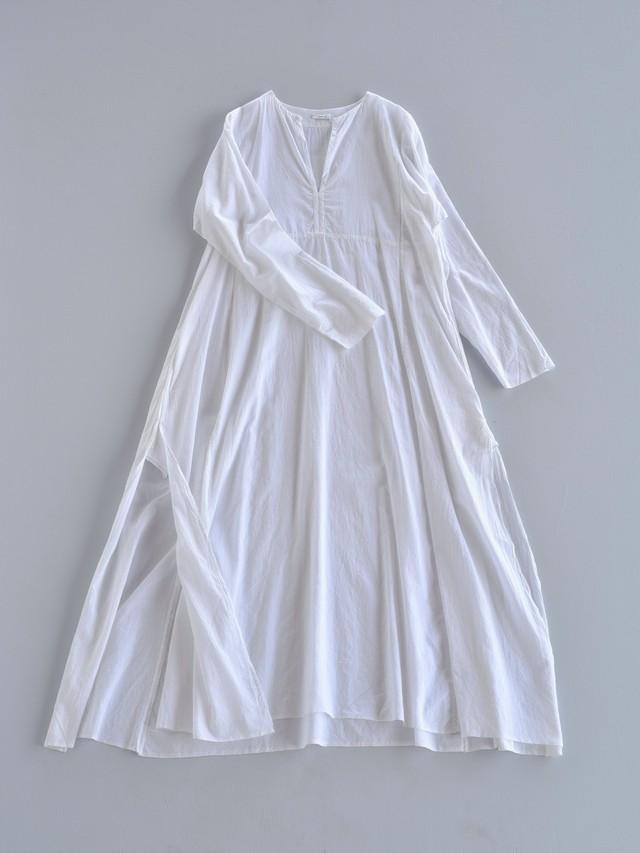 YAECA khadi ラダーステッチドレス white