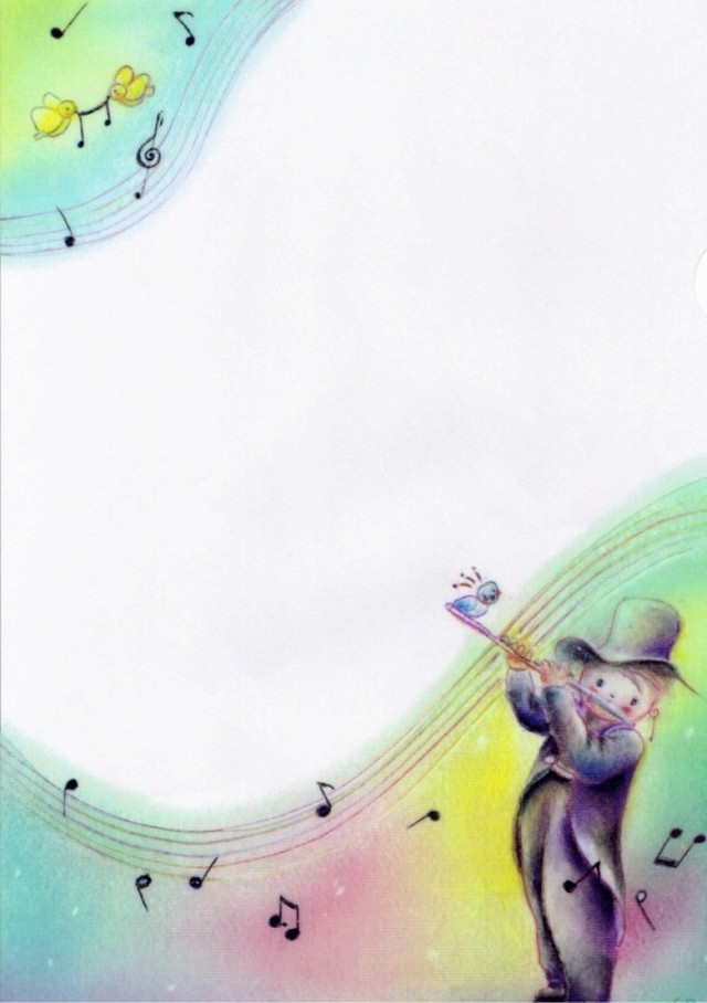 PCS001 小鳥とフルートを吹く男の子(A4クリアファイル5枚:ポストカード5枚)