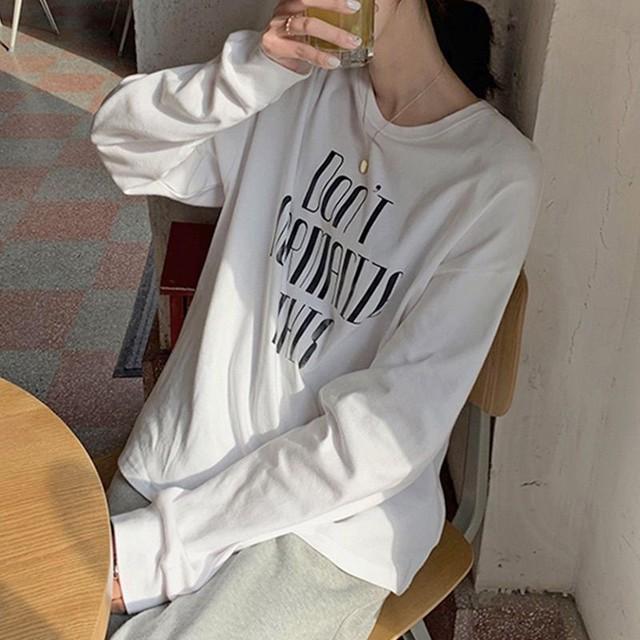 ◆即納◆ドロップショルダーロゴプリント長袖Tシャツ 2S-056