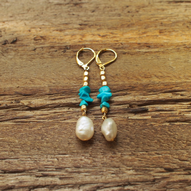 【turquoise】×【Freshwater Pearl】Pierce