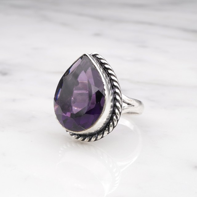 SINGLE BIG STONE RING SILVER 022