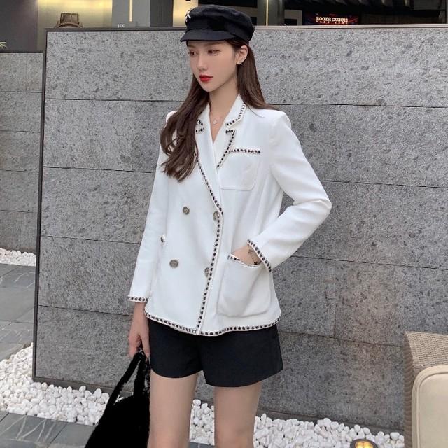 【アウター】無地シンプル長袖折襟シングルブレストスーツジャケット35256257