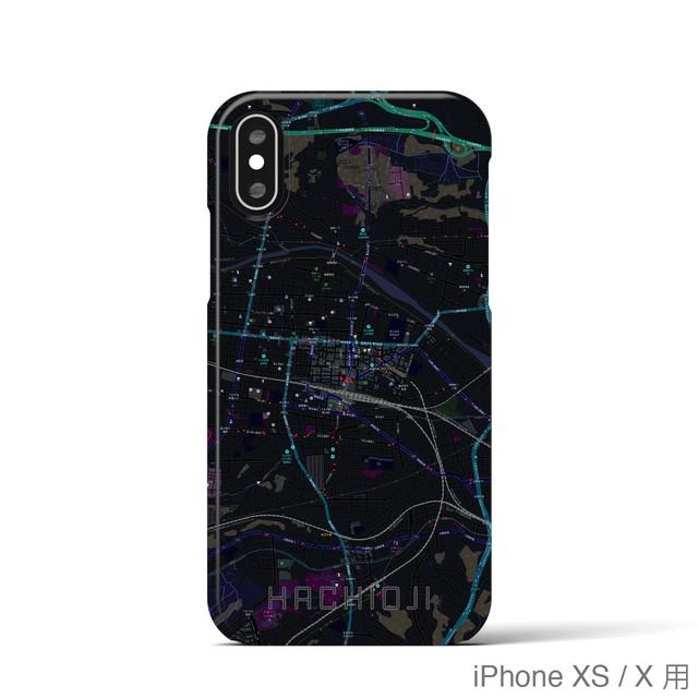 【八王子】地図柄iPhoneケース(バックカバータイプ・ブラック)